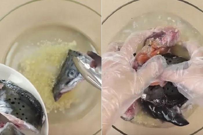 Khử mùi tanh của đầu cá bằng gừng và rượu trắng